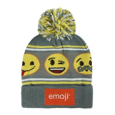 Boys Girls Kids Official Emoji Smiley Winter Bobble Hat One Size 4 - 8 Years