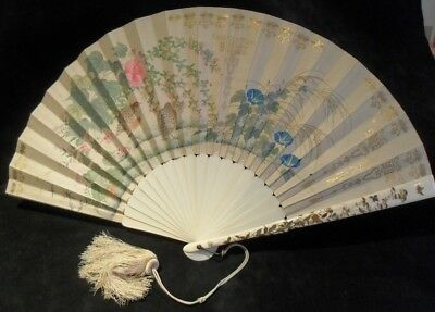 FINE 19th C MEIJI JAPANESE SHIBAYAMA ANTIQUE CARVED FAN CHINESE INTEREST QING