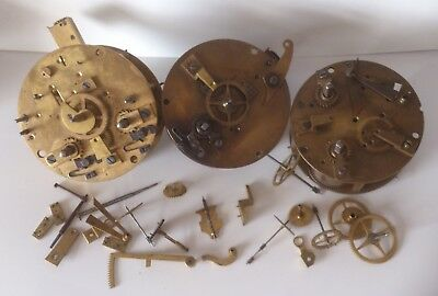 Old French Clock Movement Parts Spares Assortment Mougin
