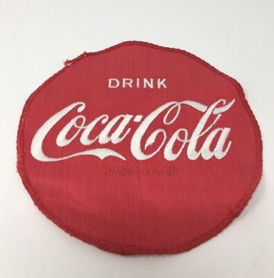 """Coca-Cola Patch Employee Uniform Cloth Embroidered Coke 6 3/4"""" Round #18-589"""