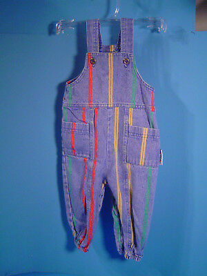 Health Tex Bright Blue Denim Overalls 12 Month 100% Cotton, Made in the USA!