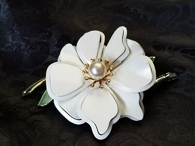 Vintage White Enamel on Metal Brooch Pin Faux Pearl Center Goldtone Accents