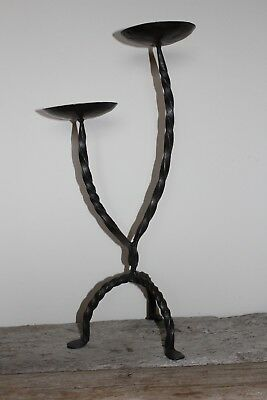 Hand Forged Twisted Wrought Iron Double Candle Holder