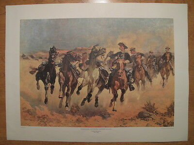 "Vintage Frederick Remington print: DISMOUNTED: THE 4TH TROOPERS MOVING 24"" x 18"""