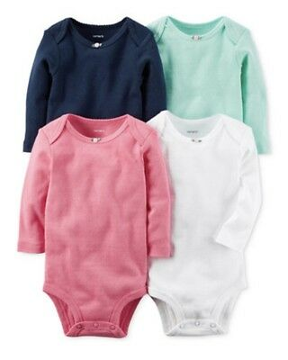 New Carter's 4 Pack Long Sleeve Cotton Bodysuits NWT Baby Girl Tops 18 Months
