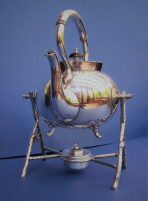 Victorian Silver Plated Spirit Kettle, Stand & Burner James Deakin & Sons c1890s