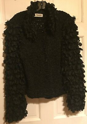 "Unique Chic VINTAGE ""IMPRINTS"" Ionic and CLASSIC BLACK RIBBON Woven JACKET-S-EXC"