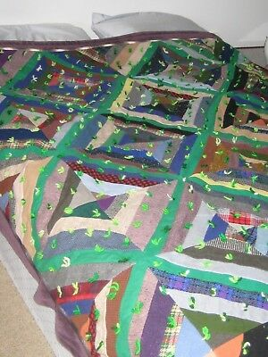 Vintage Wool and Cotton hand made quilt