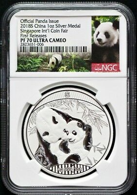 2018S China Singapore Int Coin Fair Silver 1Oz Panda NGC PF70 First Releases-500