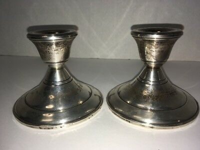"""Vintage Sterling Silver Candle Holders Candlesticks Weighted Pair 3"""" tall"""