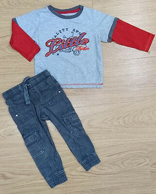 Mothercare F&f Boys Bundle Outfit Age 18-24 Months Grey Top Joggers