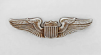 WW2 US Army Air Corps Sterling Silver  Pinback Pilot Aviator Wing Badge WWII