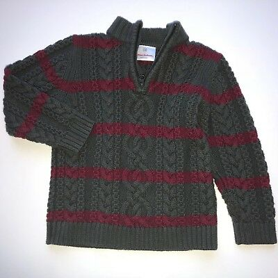 Hanna Andersson Boys Size 100 Size 4 US 1/4 Zip Wool Blend Sweater