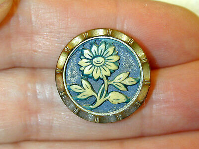 Antique Ivoroid Button in Metal Flower Design Medium Size Blue tint