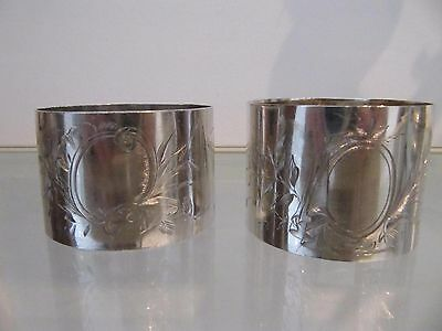 1900 french sterling silver minerve 2 napkin rings art nouveau medallion Roussel