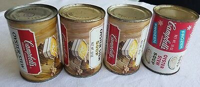 Vintage Campbell's Soup Frozen Oyster Stew Steel Cans,LOT OF  4.