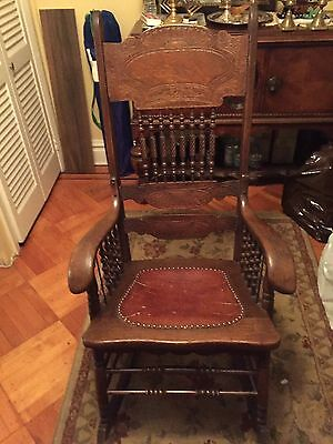 Antique Rocking Chair Wood Leather Seat