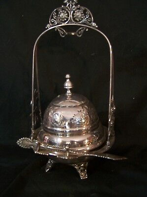 Antique Victorian Silverplate Dome Butter Cheese Dish Pickle Castor Stand CHERUB
