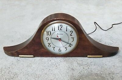 Vintage Sessions Art Deco Mahogany Electric Mantle Clock-Works
