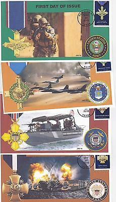 Jvc Cachets - 2016 Military Service Cross Issue First Day Cover Fdc- Set Of 4