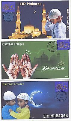 Jvc Cachets - 2016 Eid Holiday Muslim First Day Cover Fdc Religious - Set Of 3