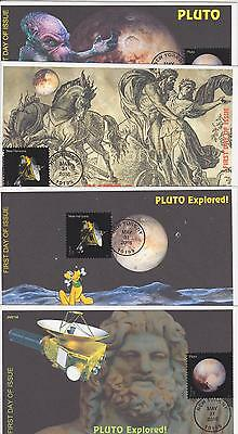 Jvc Cachets - 2016 Pluto Explored Issue Fdc First Day Covers - Set Of 4 Space