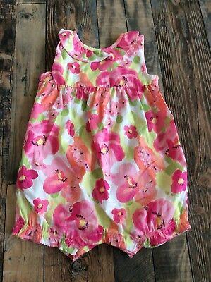NWT Gymboree Baby Girls Pink Flower Easter Romper Floral Outfit 18-24 M