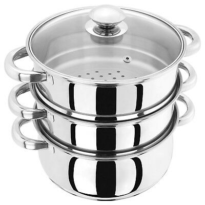 3 tier stainless steel steamer Judge 16 cm Multi layer Steaming pan All Hobs