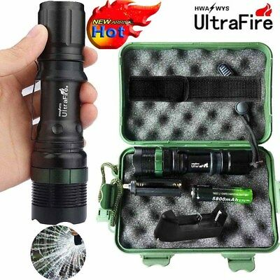 Tactical ZOOM 50000LM LED T6 LED Military Flashlight Torch+18650+Charger+Case .