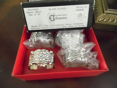 Vtg. International Silver Napkin Rings~Set of 4 ~Silver Plated~Made Japan