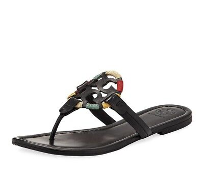 32438aab69d9 NEW Tory Burch Miller Rainbow Logo Thong Sandals Shoes Black Leather 7.5 NIB