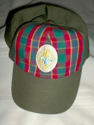 Boy Scout BSA Cub Scout Webelos Cap/Hat Green plaid Boys Size M/L