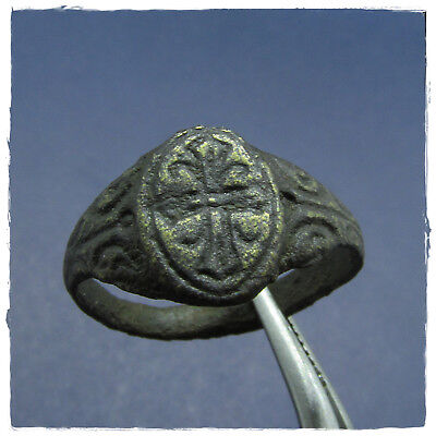 ** CROSS **  beautiful  BRONZE ancient  BYZANTINE ring !!!