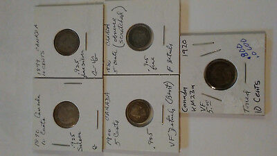 Lot of 5 Canada 1870-1920 Victoria & George V Silver Coins