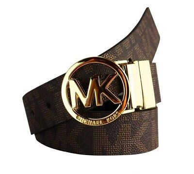 Michael Kors Medium Women's Mk Signature Logo Reversible Belt Brown/ Black