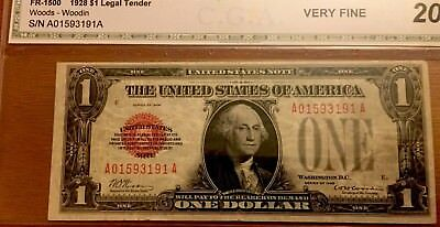 1928 $1 Legal Tender (Red Seal) AA Block VF20 **RARE FIND**CHERRY RED SEAL