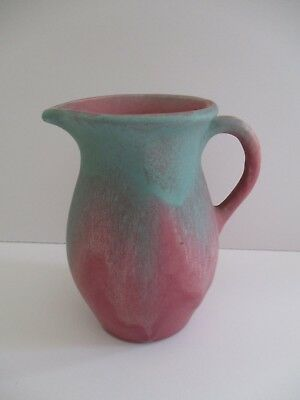 Muncie Art Pottery  Pitcher  Green Over Rose
