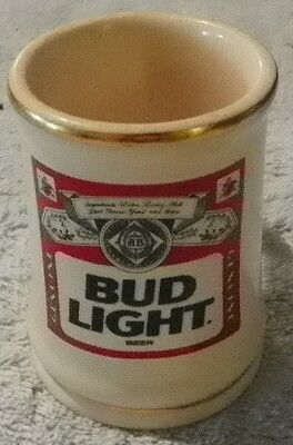 """Budweiser Bud Light Collectible Mini Stein Mug Cup 2-3/4"""" tall with Gold Trim"""