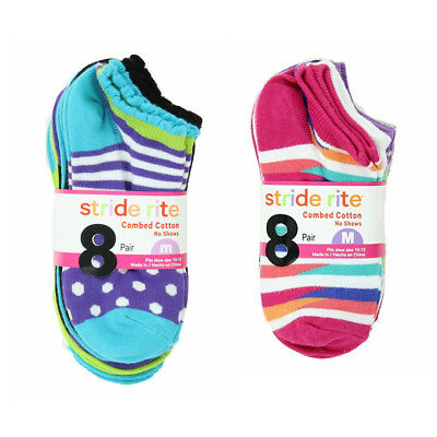 8 Pair Stride Rite Girls Cotton No Show Socks New Shoe Size 7-10 Choose Style