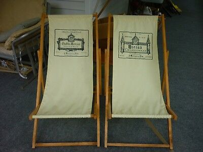 Vintage Pr Wooden Folding Canvas Sling Beach Chairs from French Riviera Wine Ad