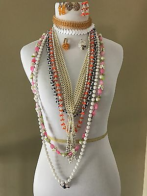 Unique Vintage Jewelry LOT 13 PIECES ASSORTED EARRINGS, NECKLACES, CHOKERS,RINGS