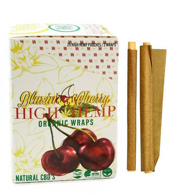NEW High Hemp Organic Wraps BLAZIN CHERRY GMO-FREE 1 Box 25 Pouches (50 wraps)