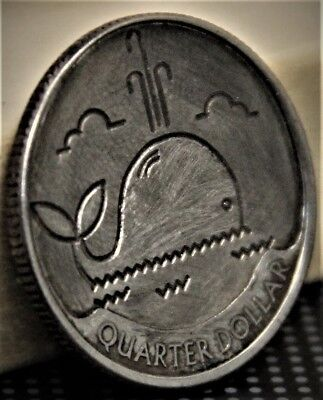 Hobo quarter MOBY DICK Engraved Carved Coin  golf ball marker