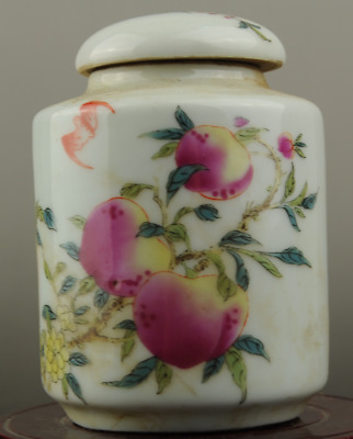 Chinese hand-made old famille rose porcelain peach pattern Cover pot  c01