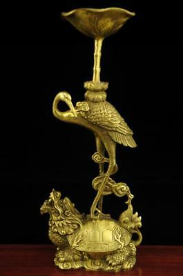 China antique old hand made brass Dragon Turtle and crane candlestick f01