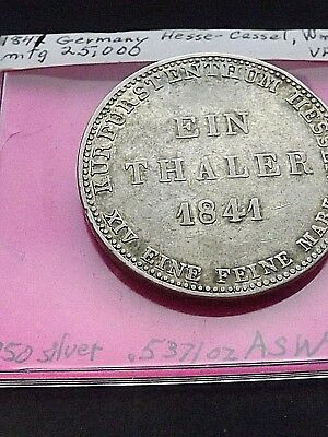 1841  1 silver thaler Hesse-Cassel, Germany, William II, Low mintage, RARE