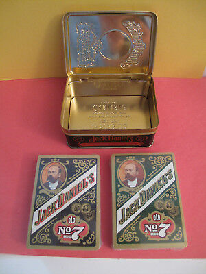 Collectible JACK DANIEL'S OLD NO.7 / 2 decks of unopened playing cards with tin