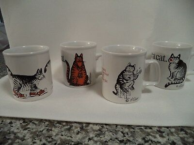 Four B Kliban Coffee Cups Mugs Mousies Mom Red Sneakers Love A Cat