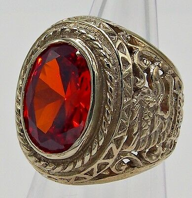 Men Ring Red Orange Sapphire Bronze Silver Garuda Huge Antiques Vintage Lok # 10