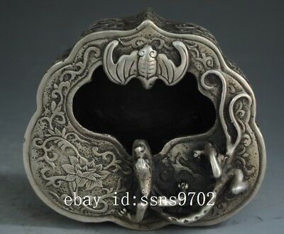 chinese old copper plating silver hand engraving bat A lizard figure ashtray d01